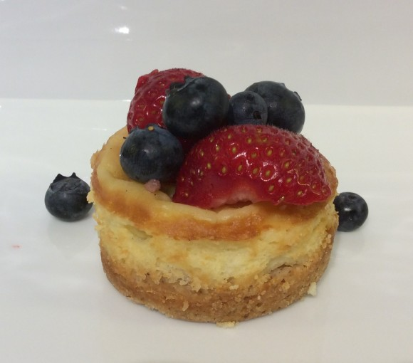 White Chocolate Mini Cheesecakes with berries