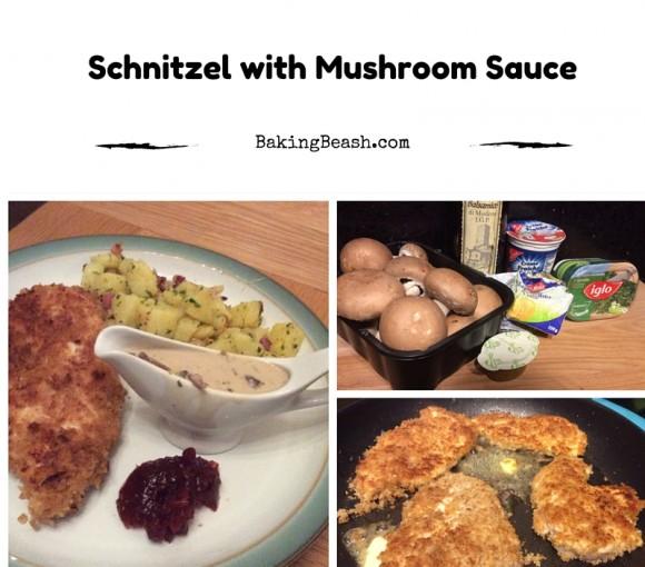Schnitzel and mushroom sauce