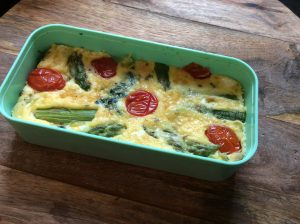 Asparagus and spinach frittata bento